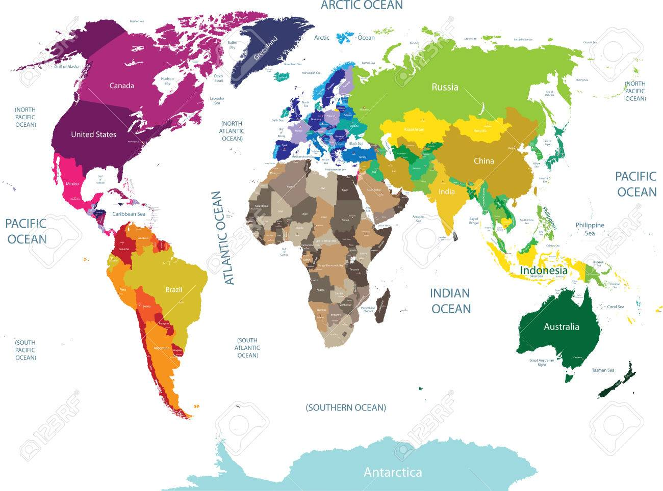 High Detailed World Map Vector Illustration Royalty Free Cliparts - World map detailed