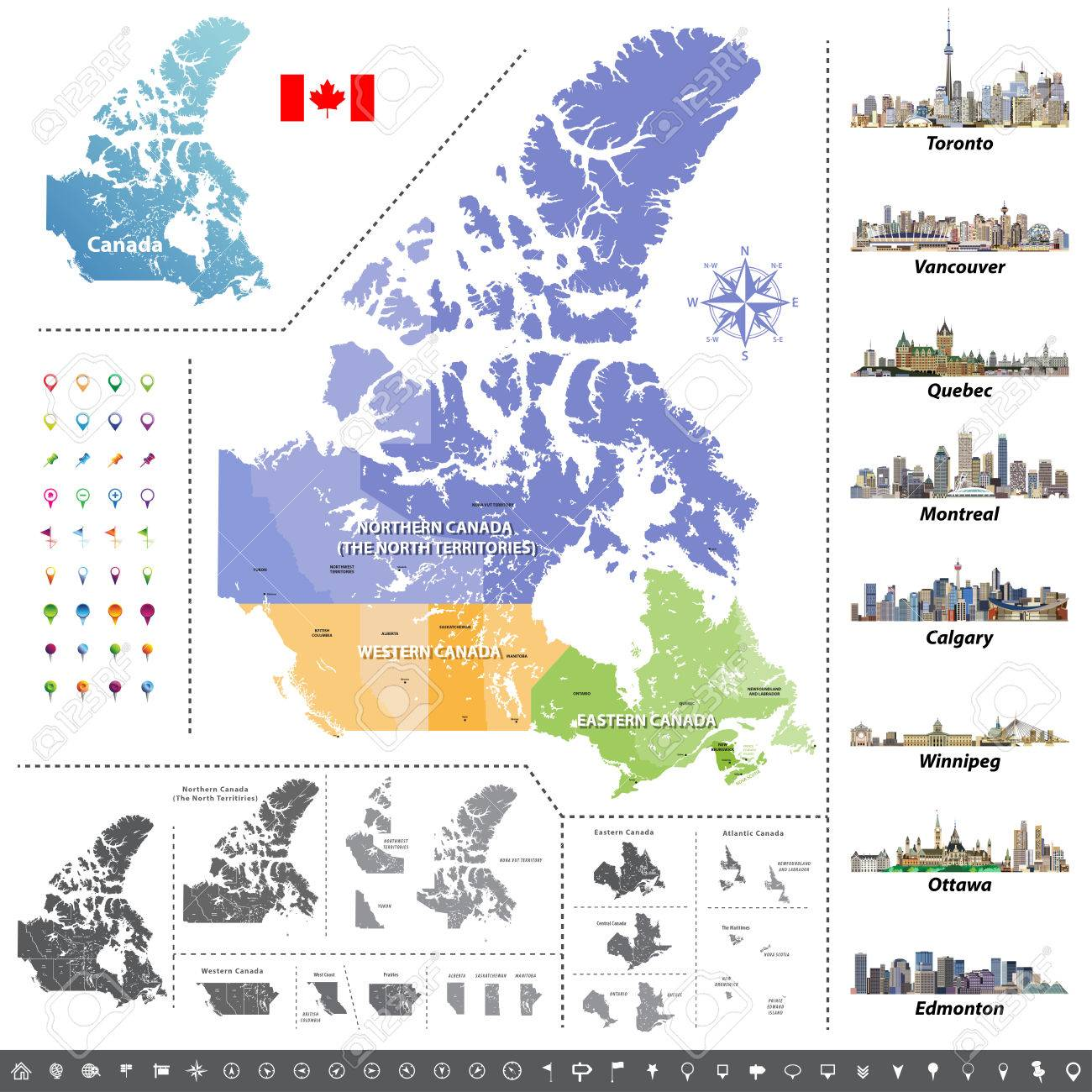 Canadian Provinces And Territories. Map, Flag And Largest City ...