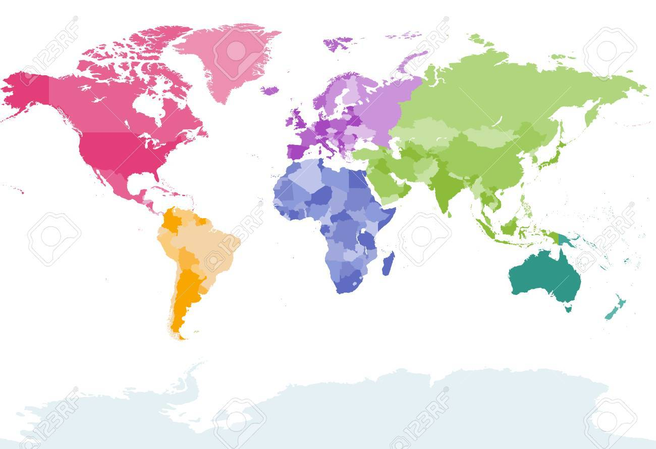 World Map Colored By Continents Royalty Free Cliparts Vectors And