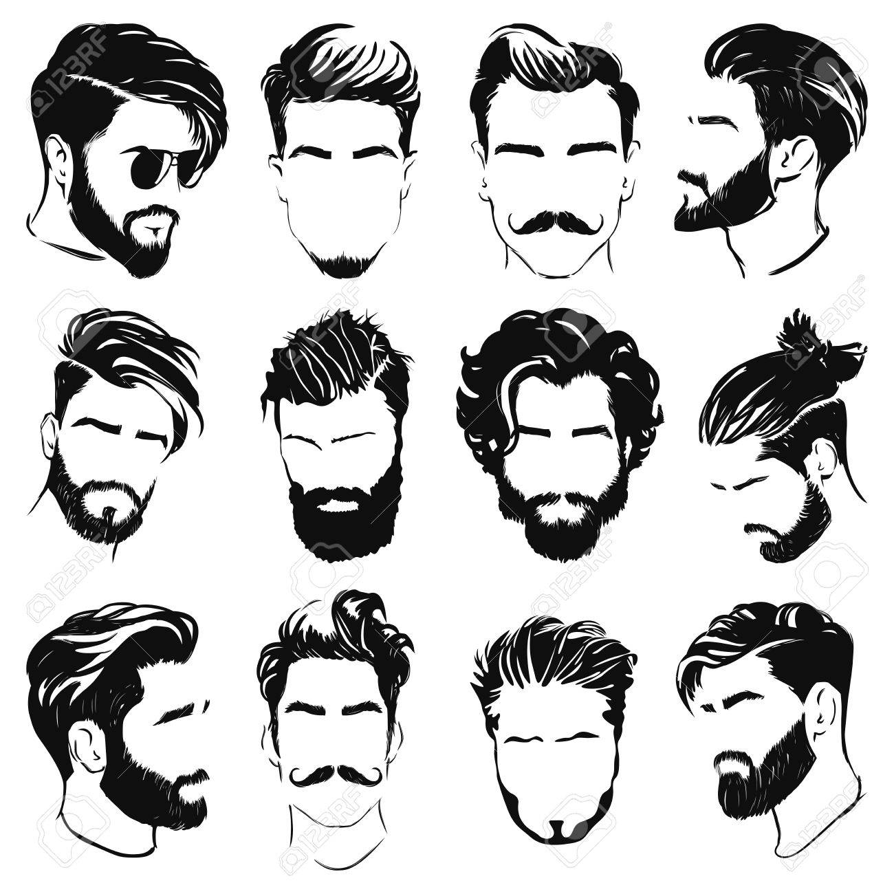 vector illustration of men hairstyle silhouettes