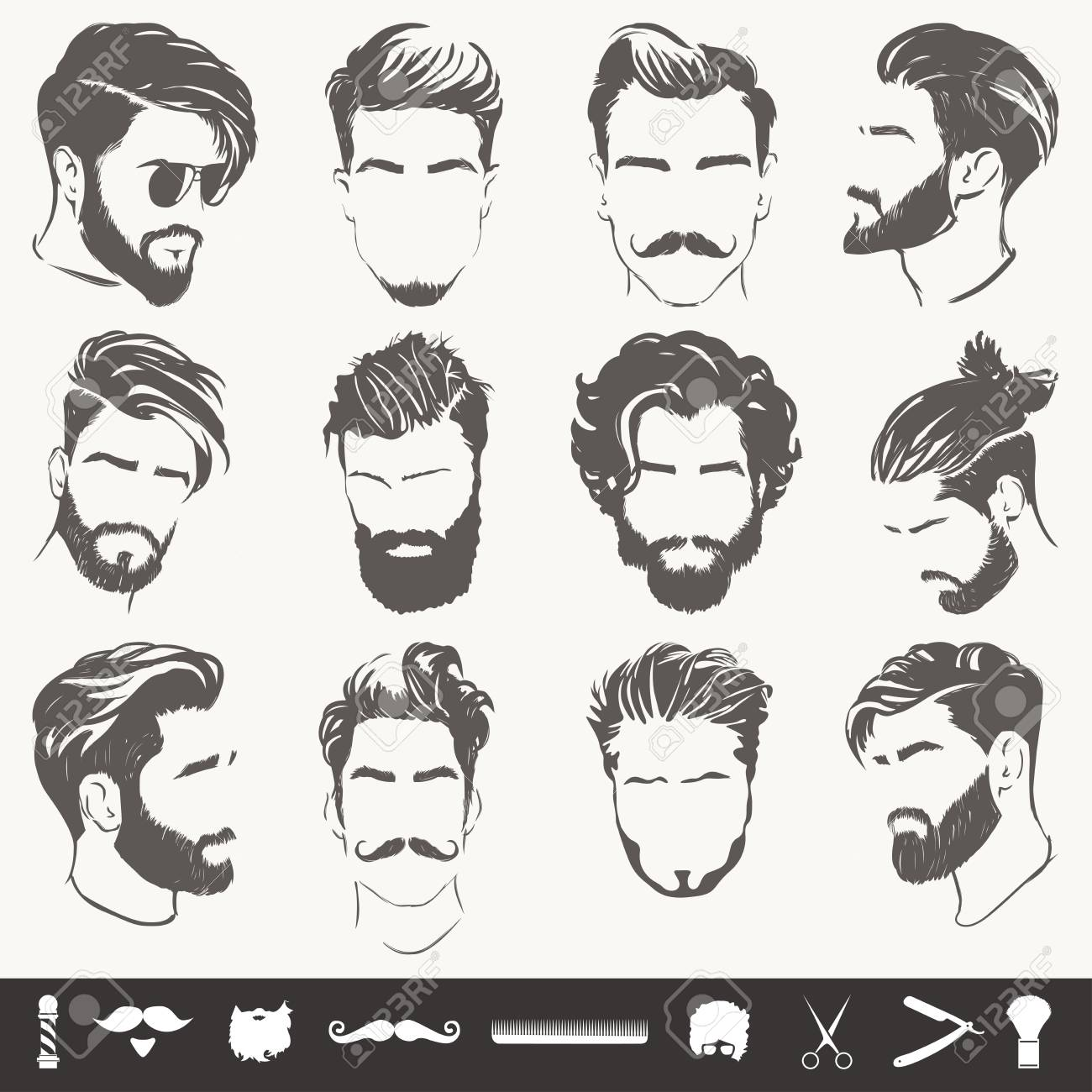 Vector Set Of Abstract Men Hairstyle Silhouettes Royalty Free