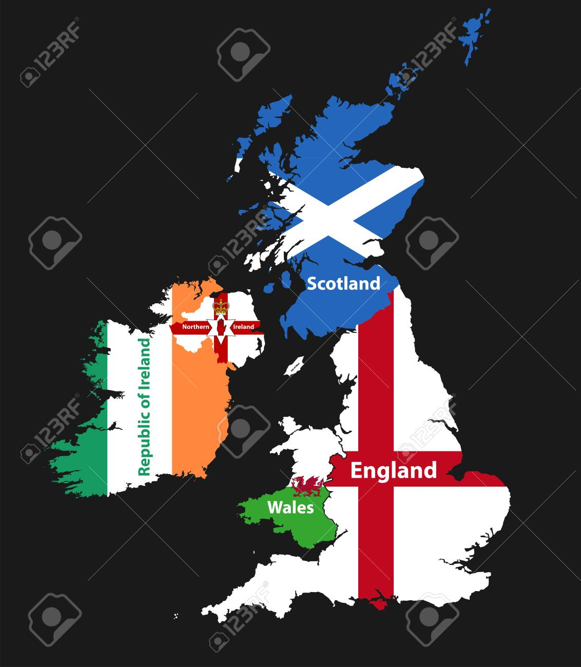 Countries of British Isles: United Kingdom (England, Scotland, Wales, Northern Ireland) and Republic of Ireland map combined with flags - 91755309