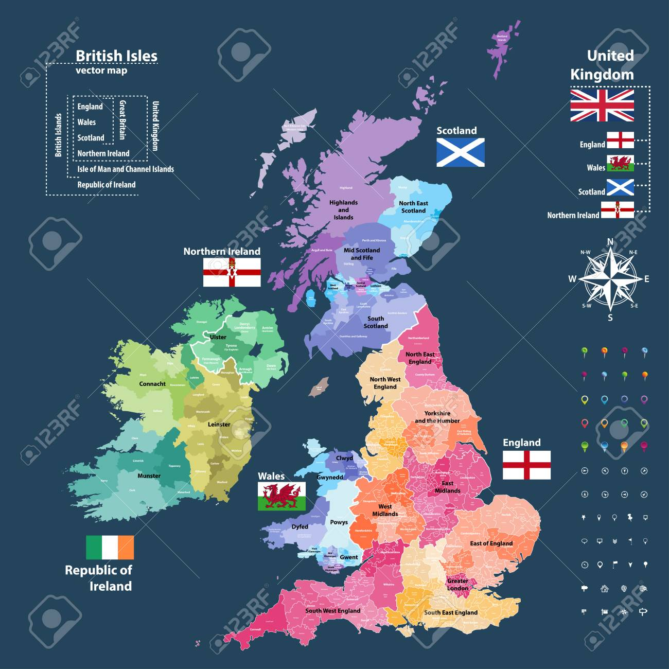 Vector map of British Isles. Districts and counties maps and..