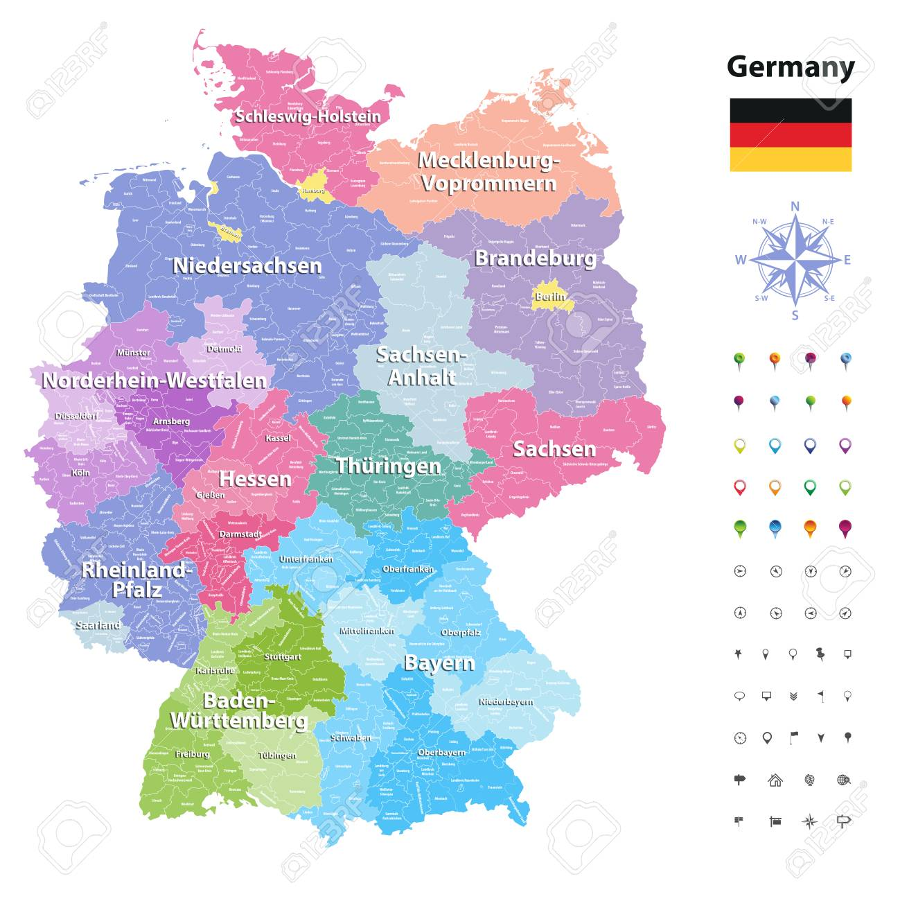 Germany vector map (colored by states and administrative districts)..