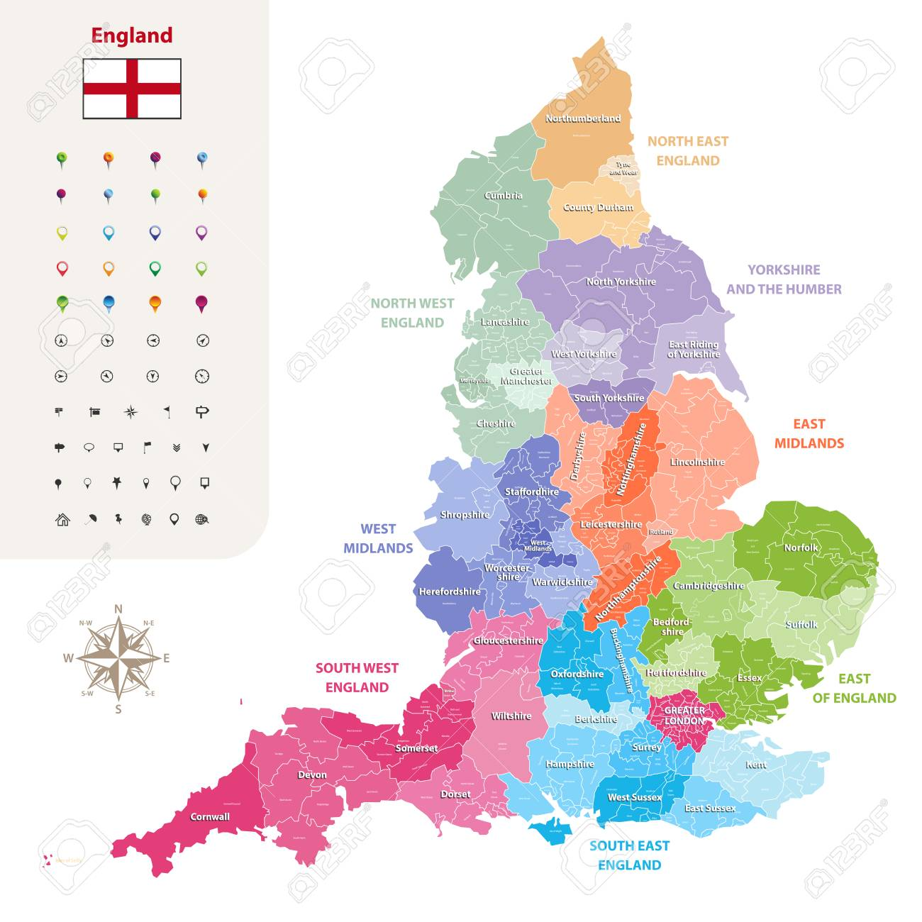 Map Of Counties England.England Ceremonial Counties Vector Map