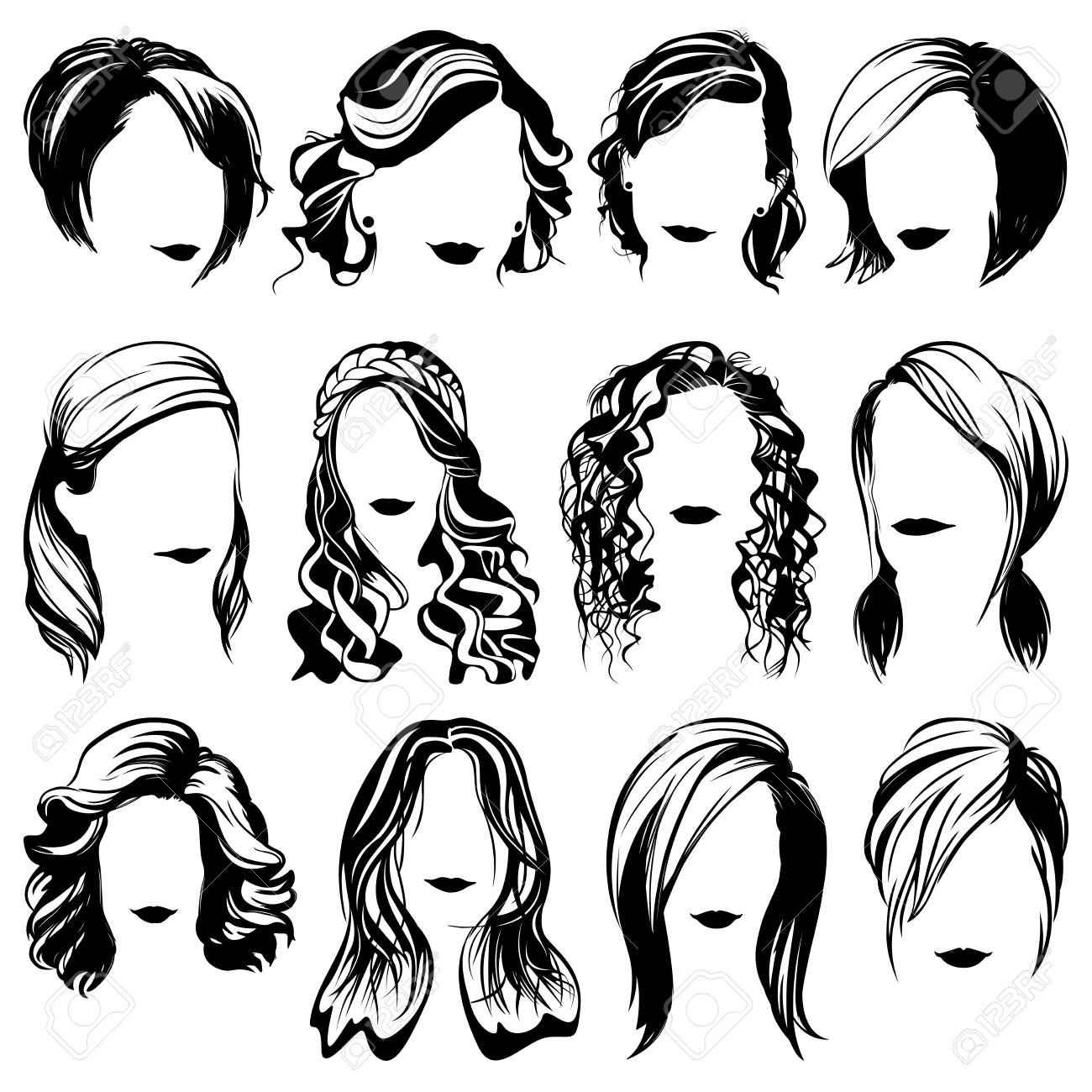 Fashion Women Hairstyle High Detailed Silhouettes