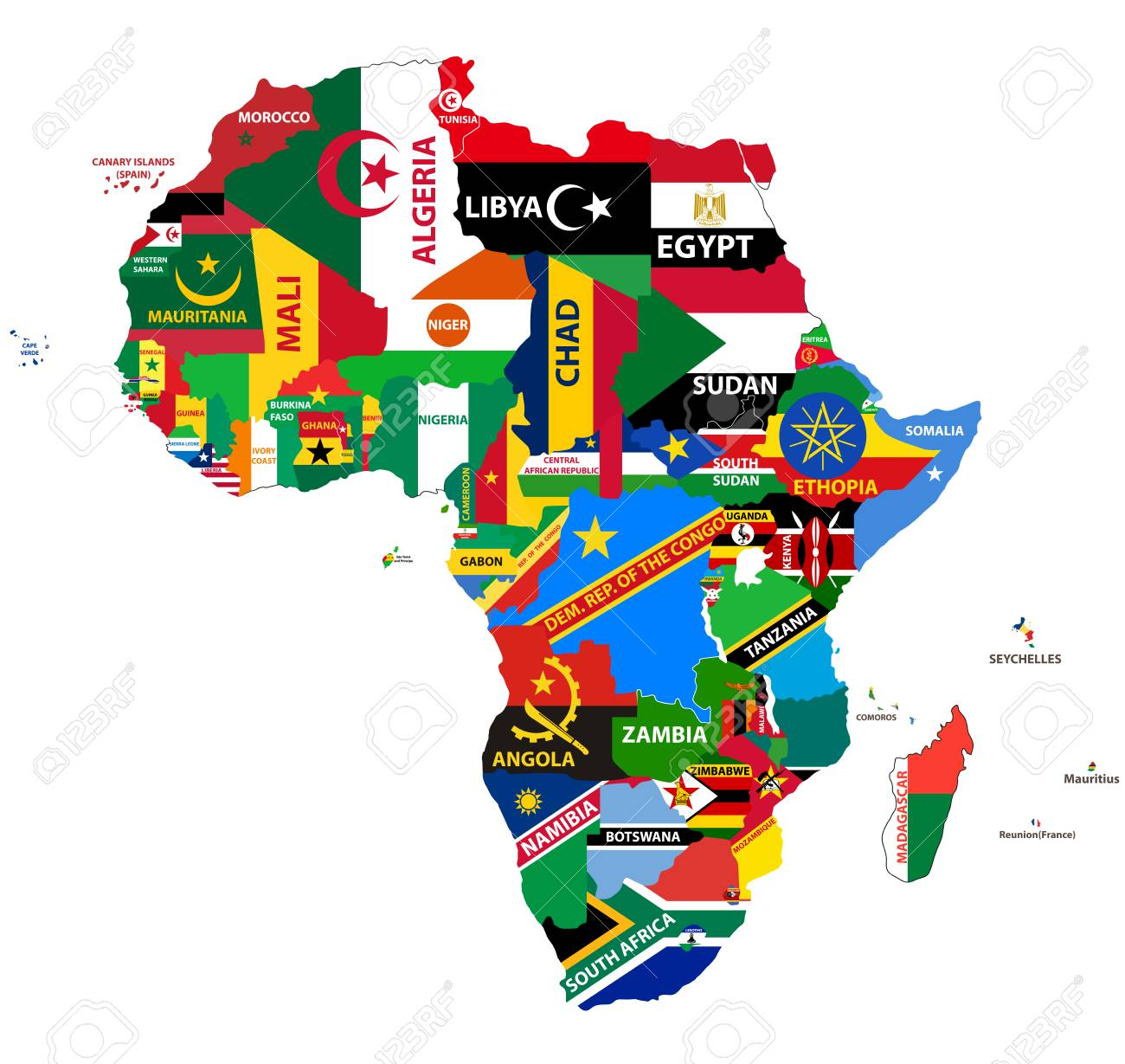 vector political map of Africa with all country flags - 93791438