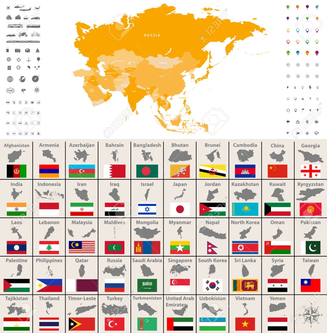 Asia political map, location, navigation and travel icons. Asian..