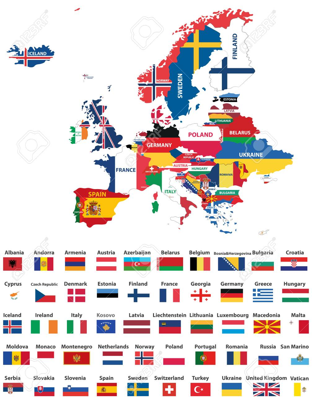 Europe Flag Map Europe Map Mixed With Countries National Flags. All European