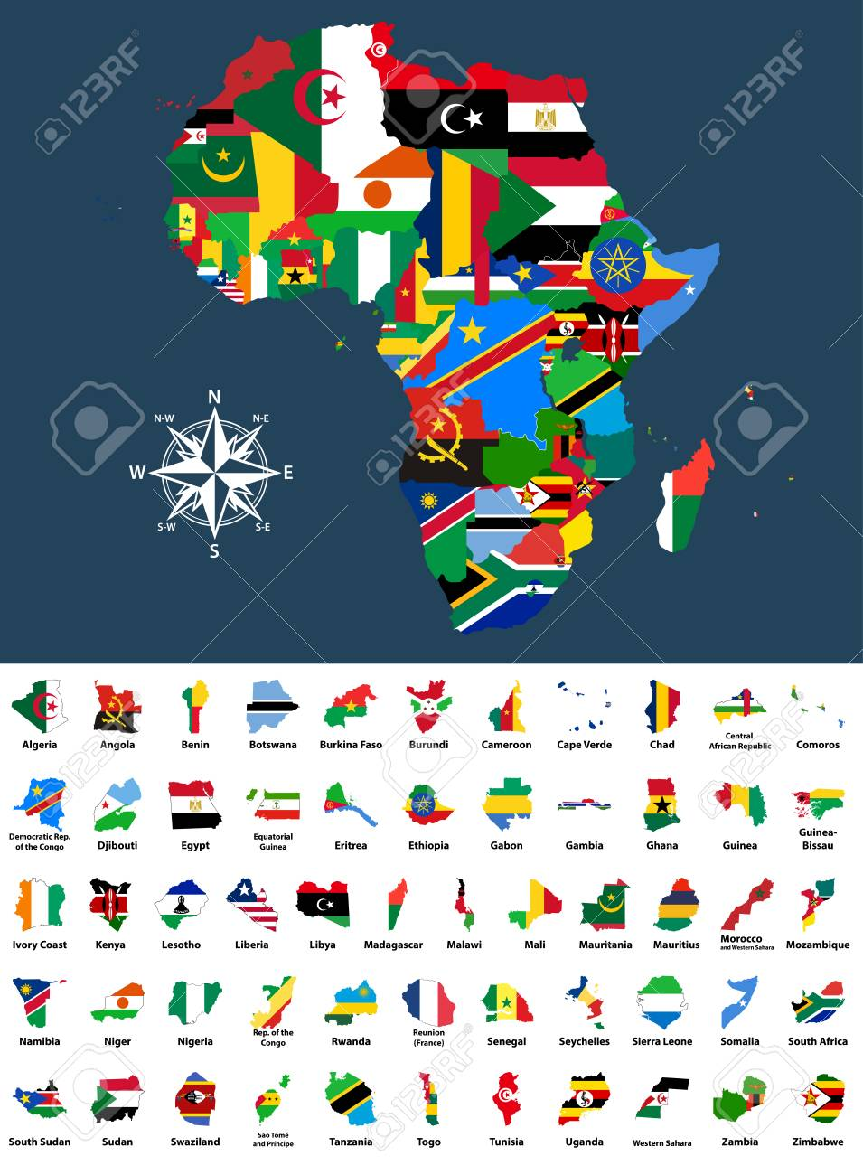 Map Of Africa Flags.Map Of Africa Mixed With Countries Flags Collection Of All African