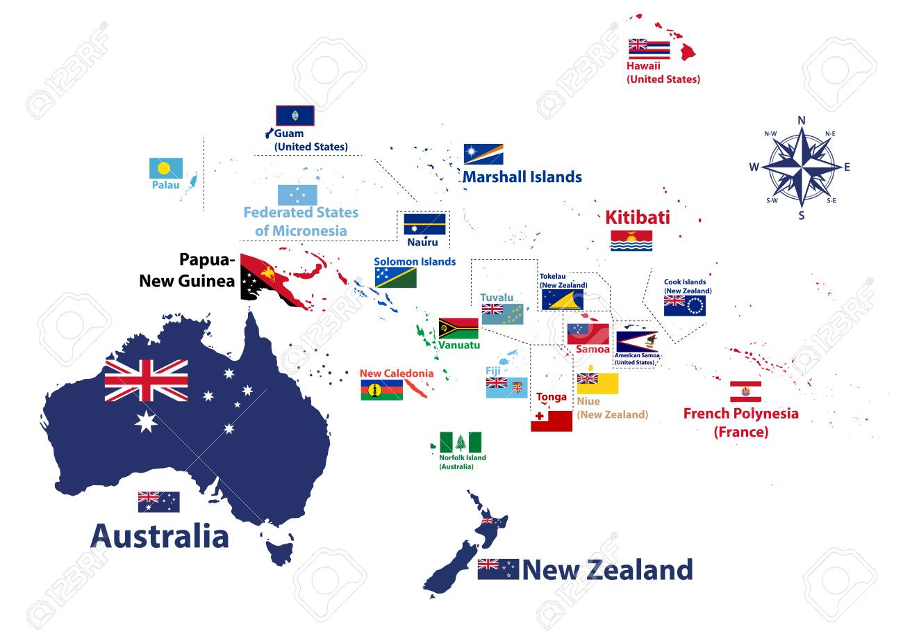Australia Map With Flag.Australia And Oceania Region High Detailed Map With Countries