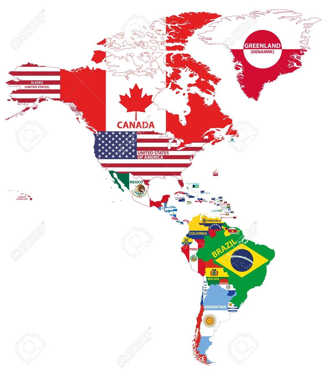 Vector illustration of North and South America map with country..