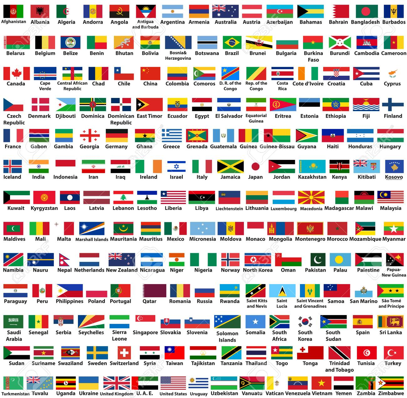 vector set of all world countries flags arranged in alphabetical