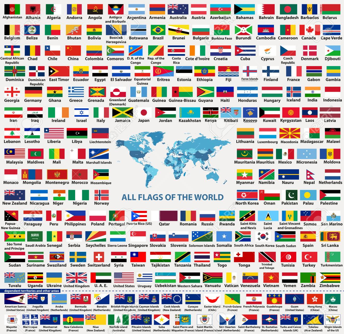 vector set of all world countries flags sovereign states dependent