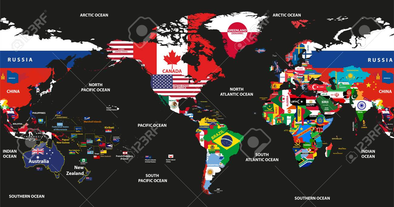 Vector Illustration Of World Map Jointed With National Flags