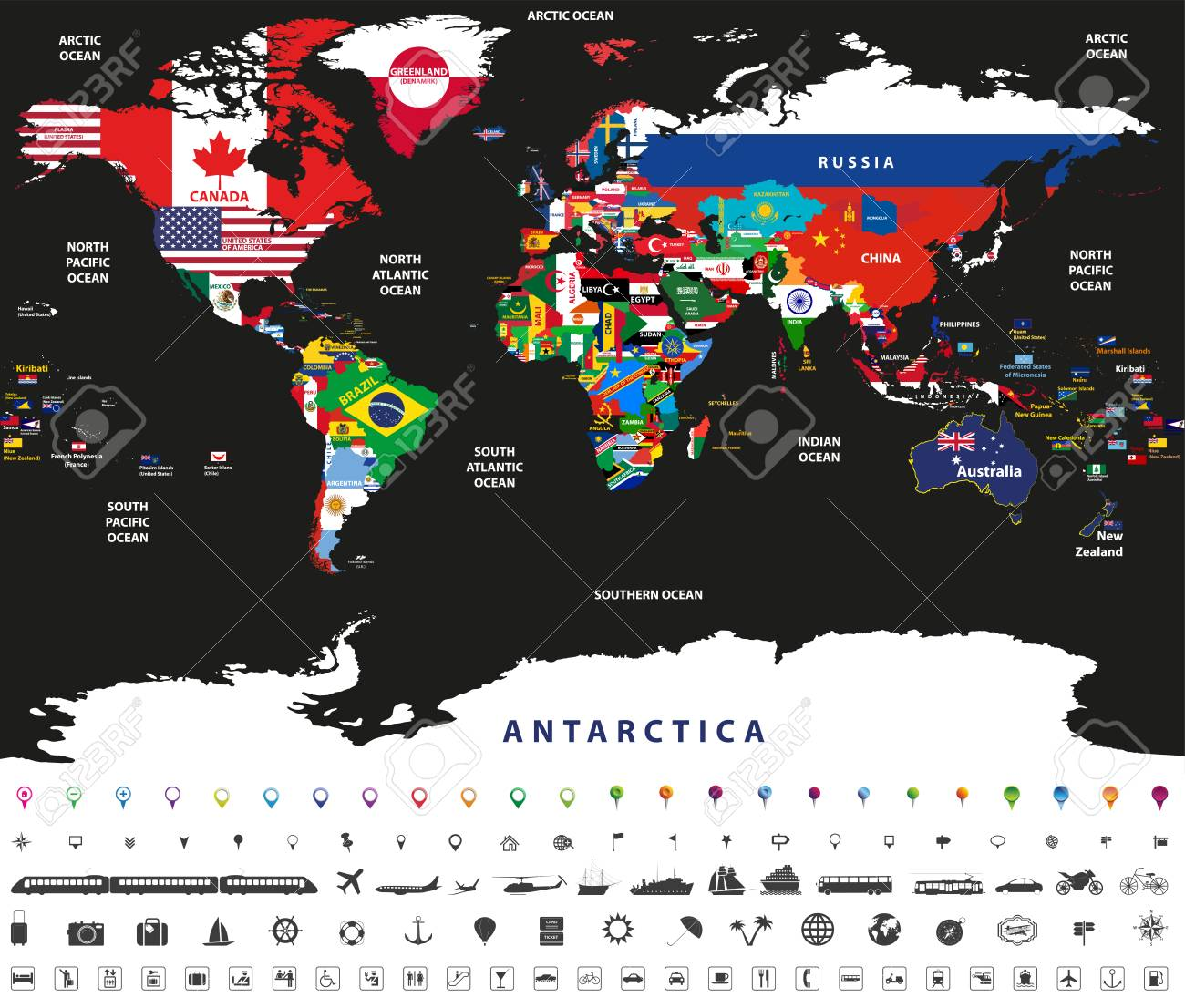 Vector Illustration Of World Map Joint With National Flags With