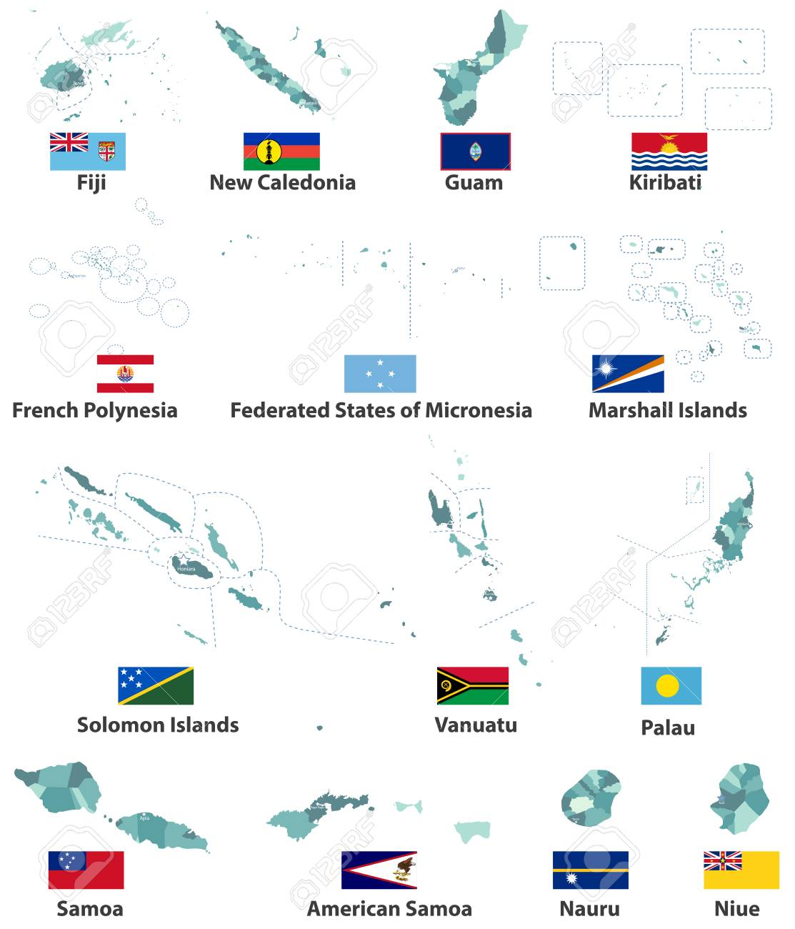 A vector maps and flags of Oceania countries with administrative..
