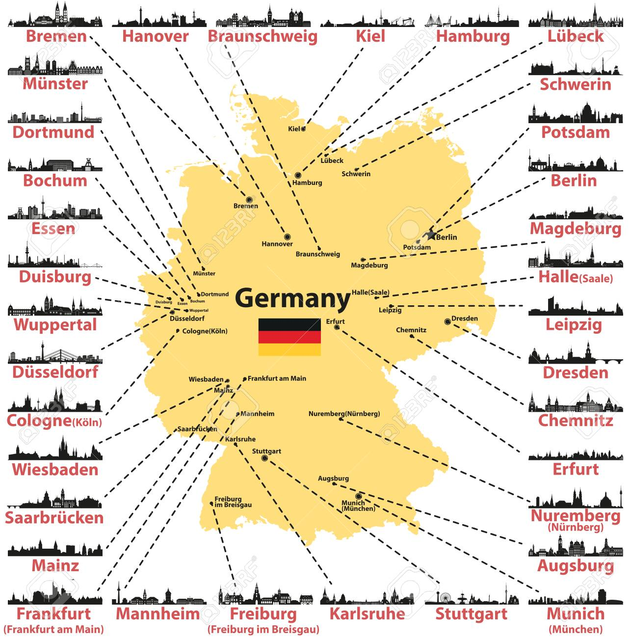 Germany vector map with states and capitals skylines silhouettes..