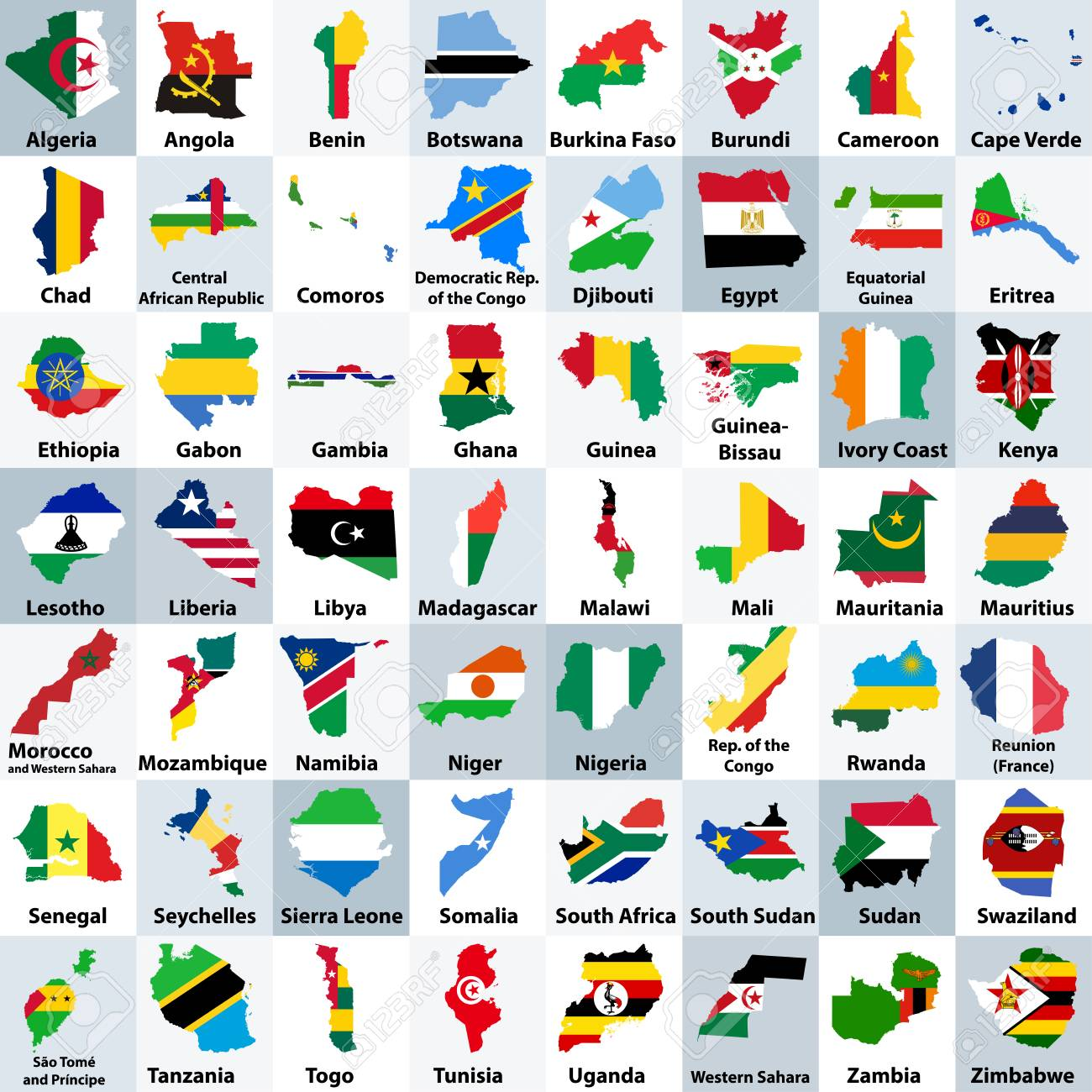 all african countries maps mixed with their national flags and