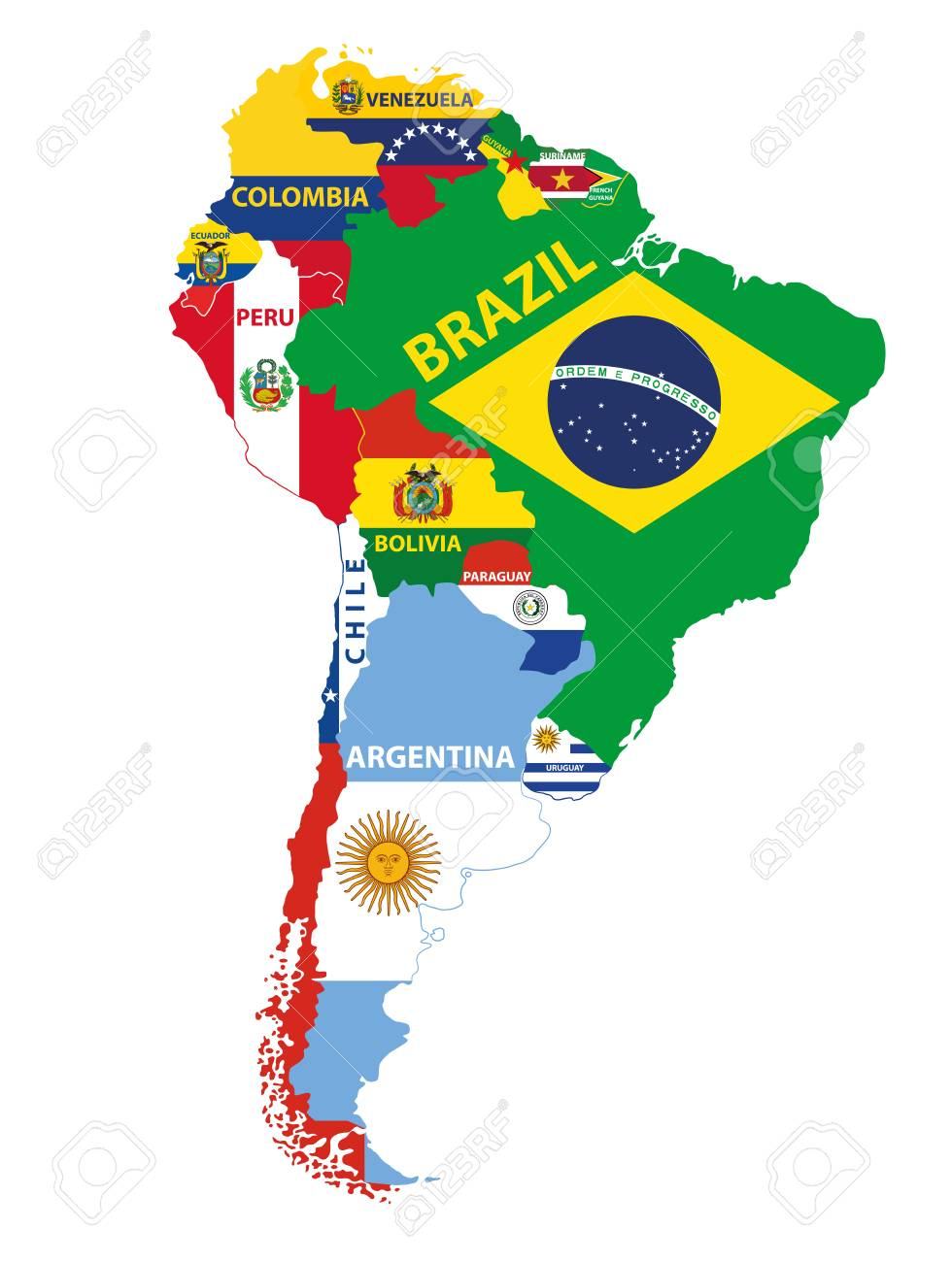 South America Map Mixed With Countries Flags Vector Illustration