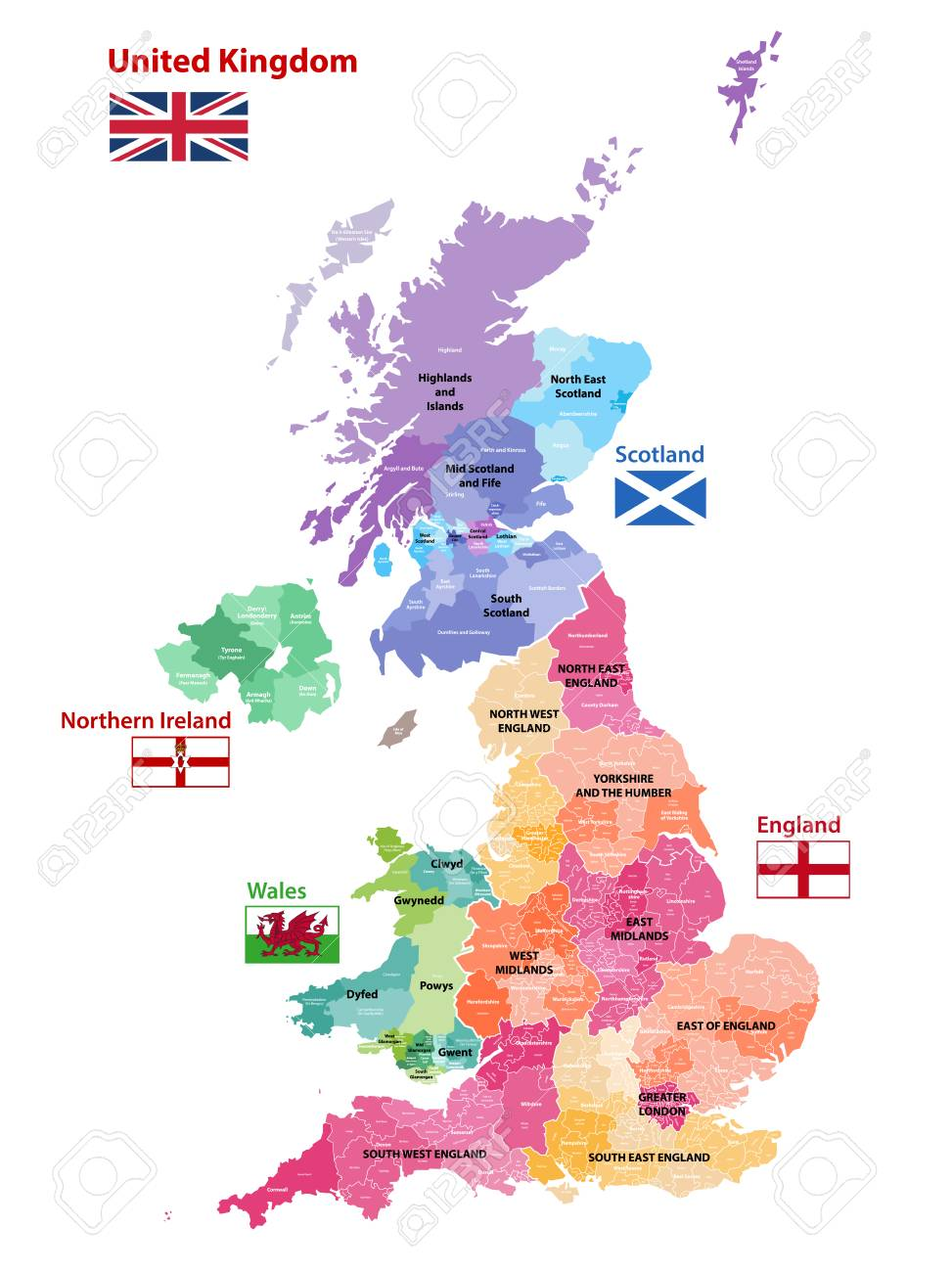 Map Of Uk Showing 4 Countries.Vector Map Of United Kingdom Colored By Countries Counties And