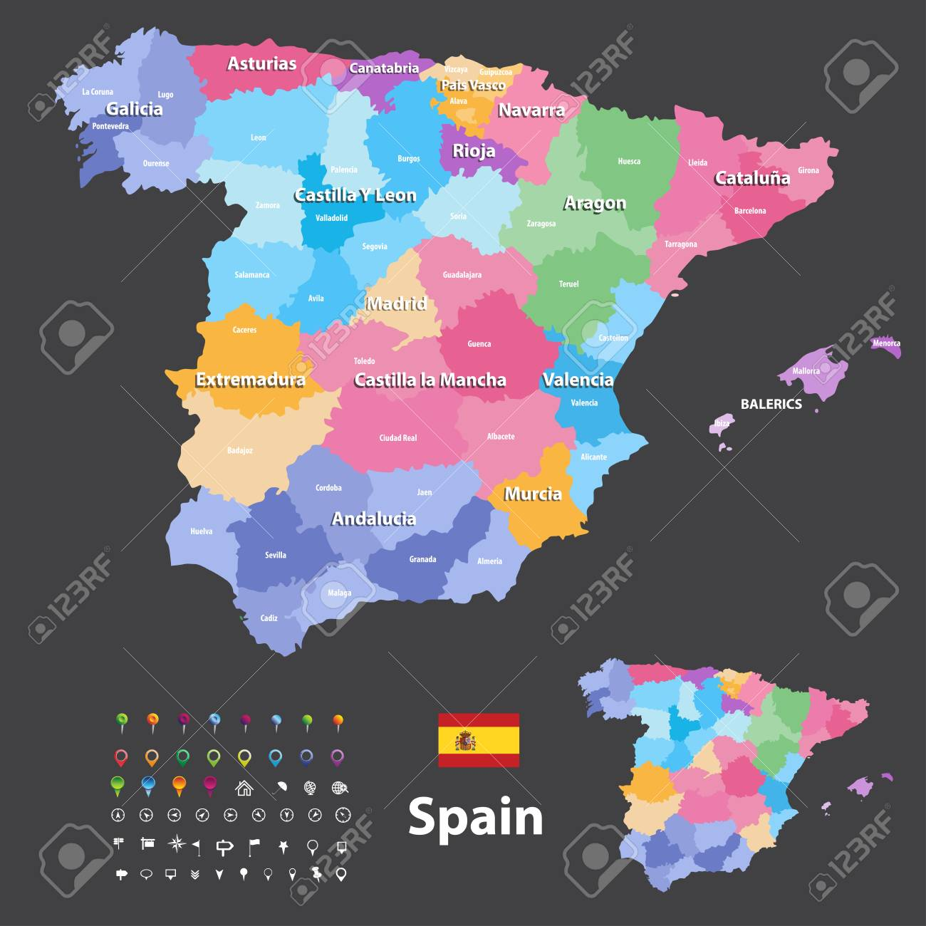 Travel Map Of Spain.Autonomous Communities And Provinces Vector Map Of Spain Navigation