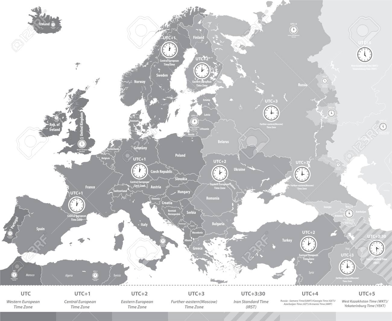 Europe Time Zones Map In Gray Scales With Location And Clock
