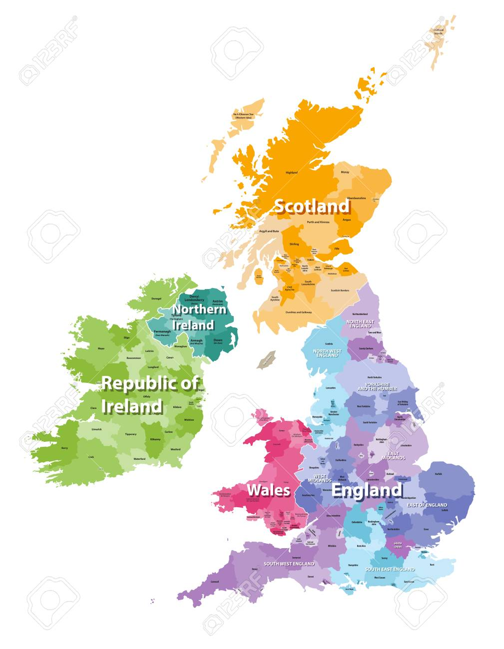 British Isles Map Colored By Countries And Regions Royalty Free ...