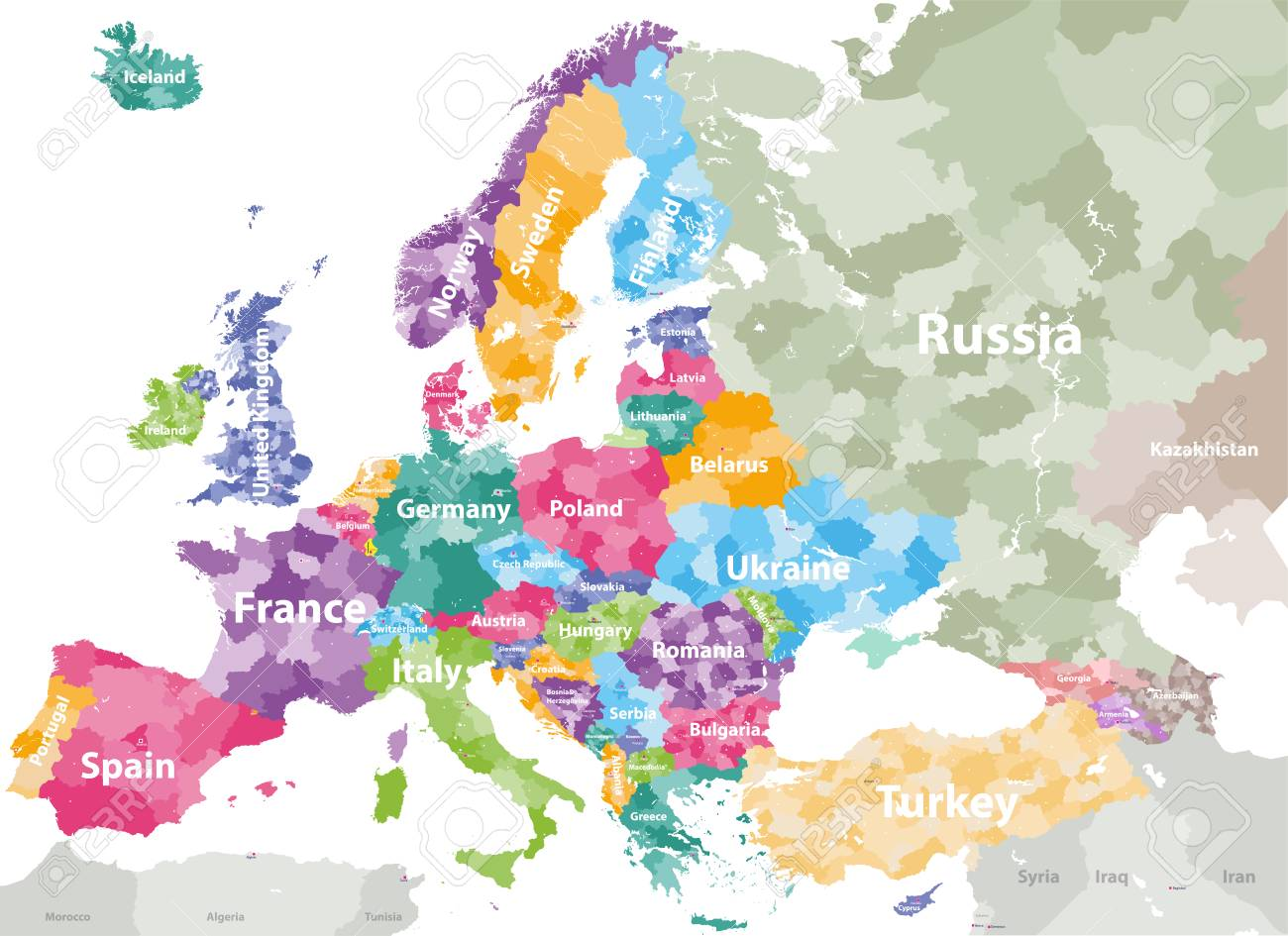 High detailed colored political map of Europe with countries\'..
