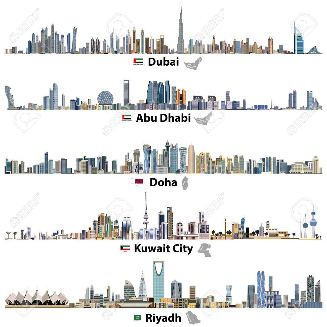 vector vector illustrations of dubai abu dhabi doha riyadh and kuwait city skylines with flags and maps of united arab emirates qatar