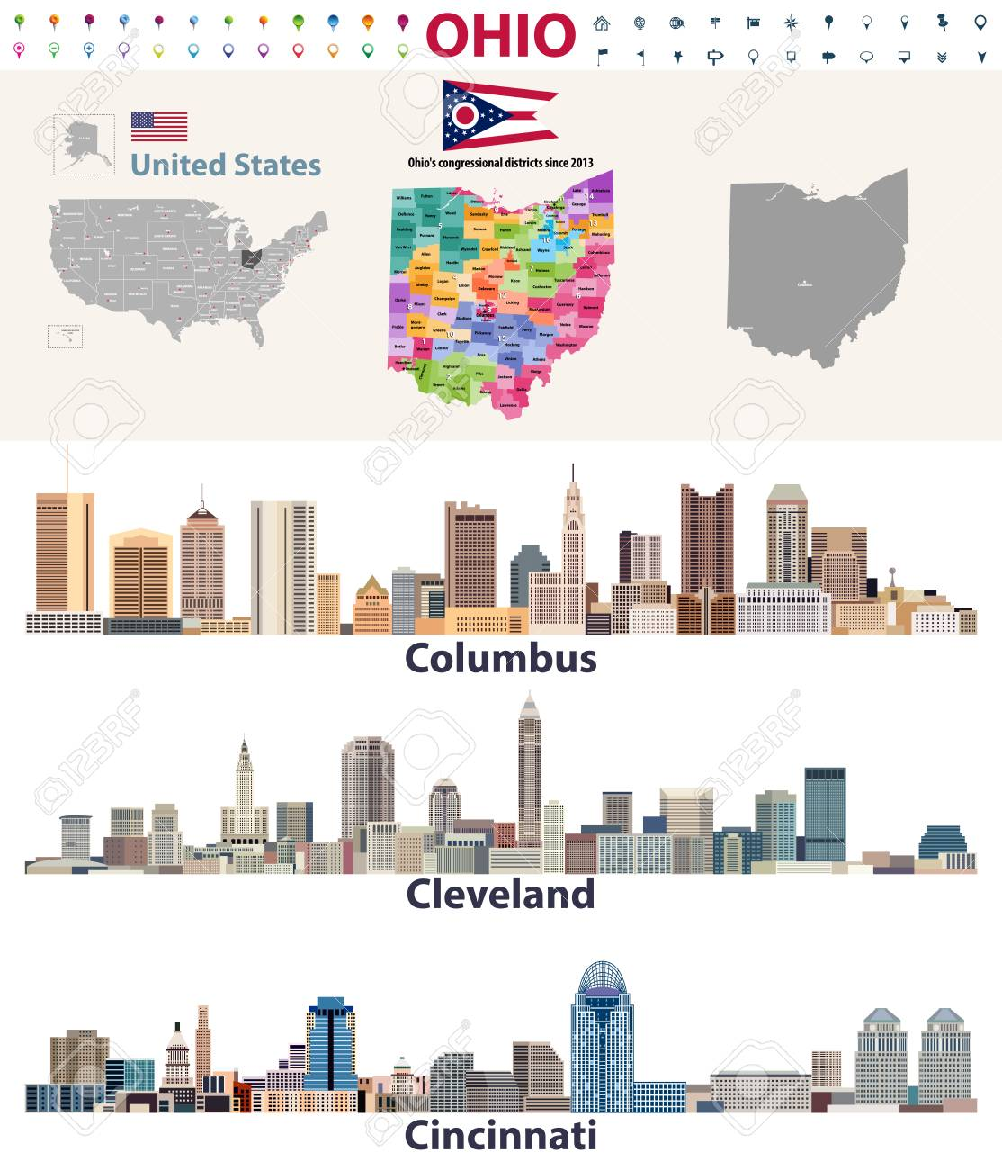 Major Cities In Ohio Map.Vector Map And Major Cities Of Ohio State Royalty Free Cliparts