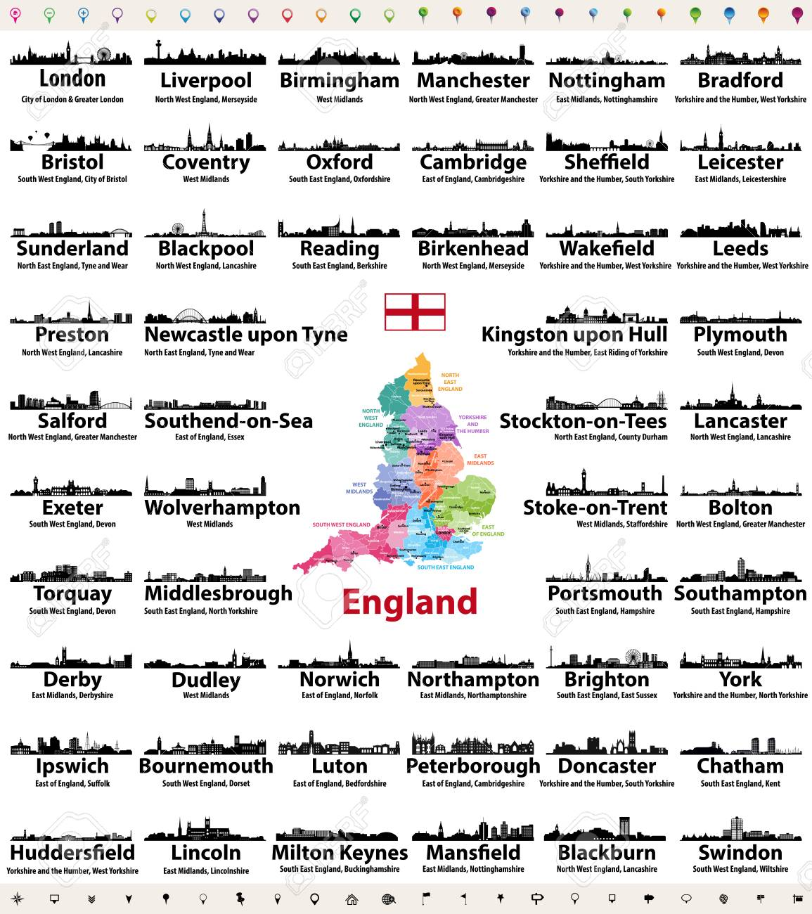 England Cities Skylines Icons With Names Of City Region And Royalty Free Cliparts Vectors And Stock Illustration Image 104735113
