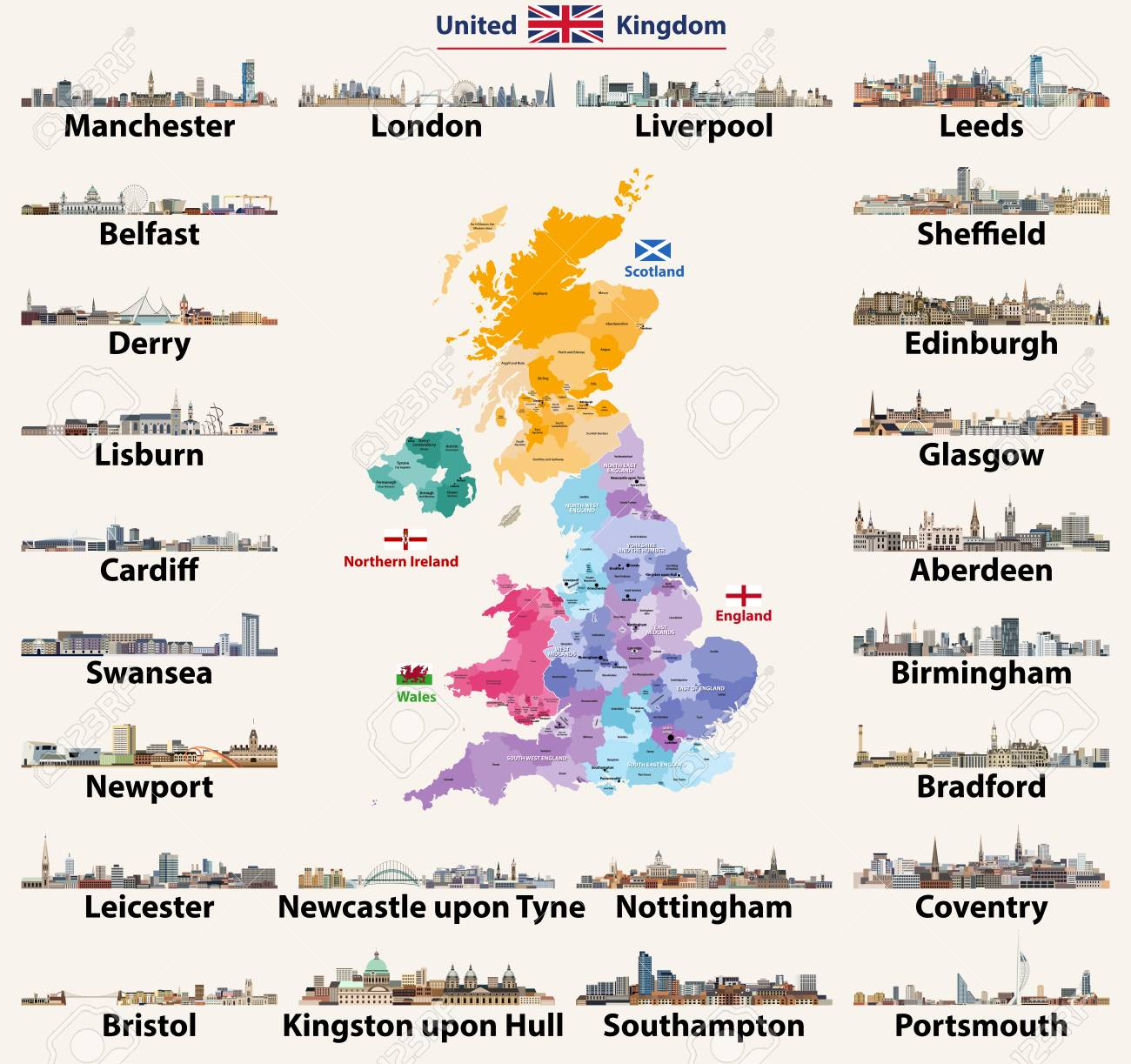 Map Of Uk And Ireland With Cities.United Kingdom Cities Skylines Detailed Map Of United Kingdom