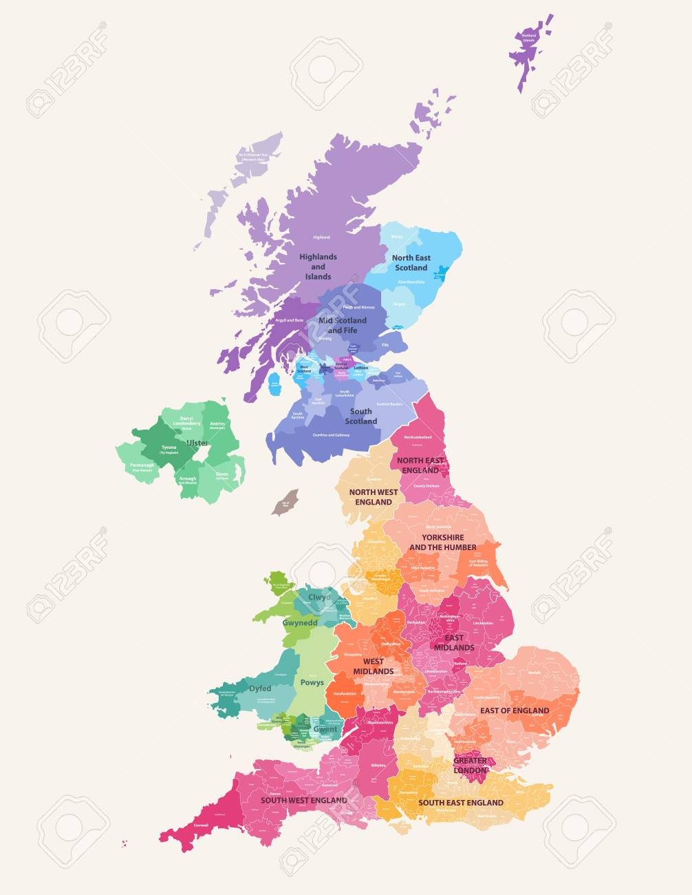 Map Of Uk And Scotland.Colored Map Of The United Kingdom Districts And Counties Map