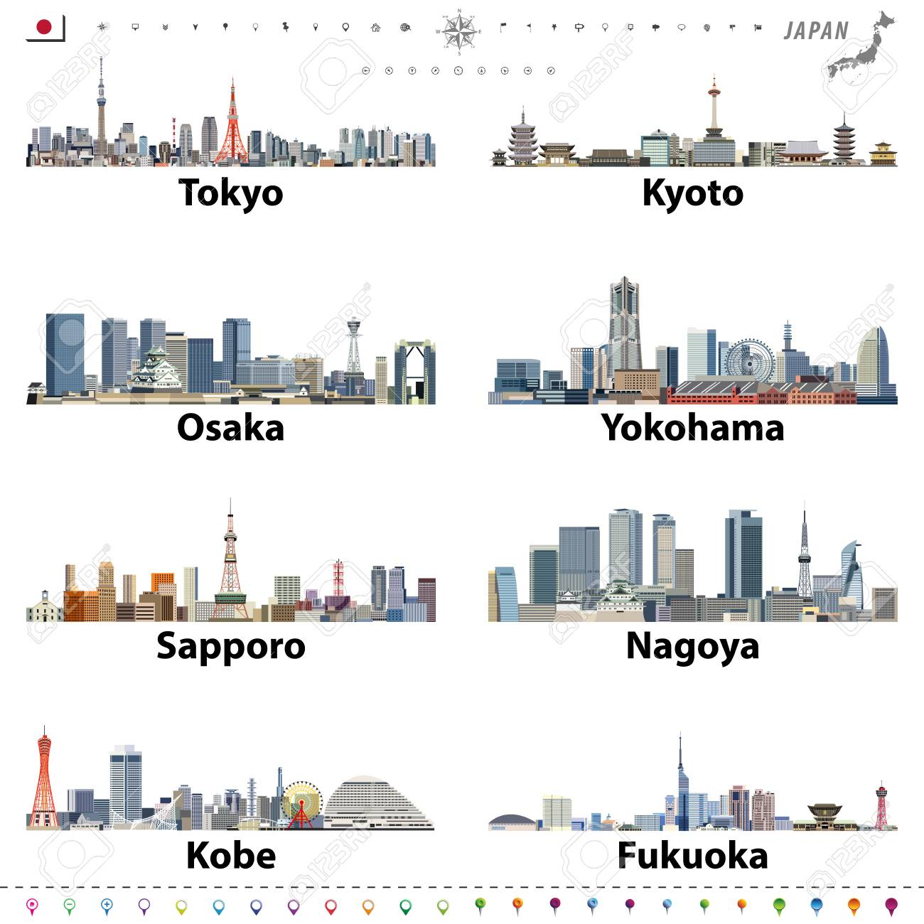 illustration of japanese city skylines with location, navigation and travel icons; flag and map of Japan - 122398148