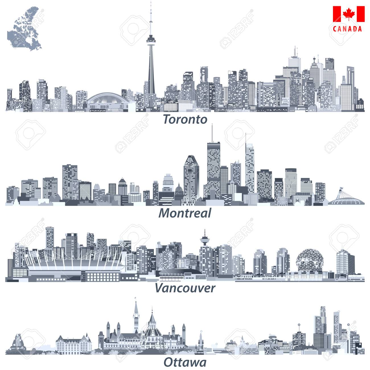 Map Of Canada Vancouver Toronto.Illustrations Of Canadian Cities Toronto Montreal Vancouver