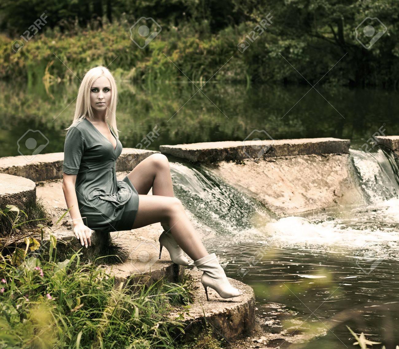 Fashion Photo of Blonde Woman Posing on Nature Background Stock Photo - 15918999