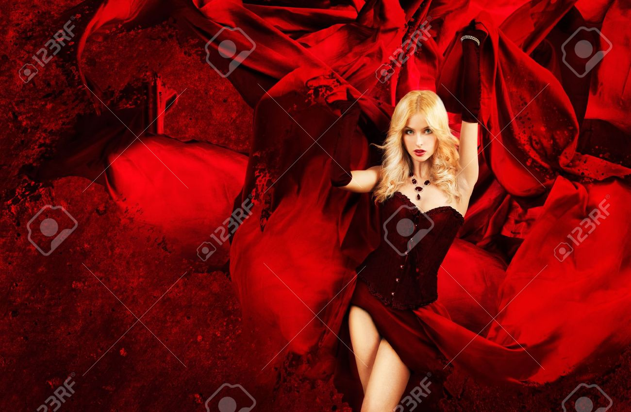Sexy Blonde Fantasy Woman With Red Waving Fabric Awesome Wallpaper