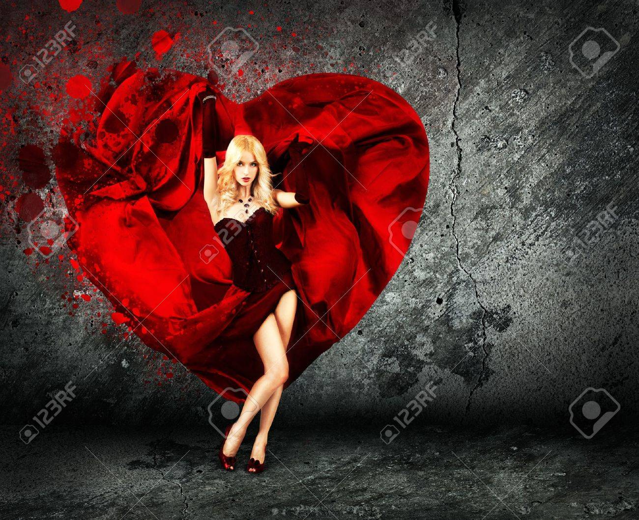 Sexy Woman with Splashing Silk Heart   Beautiful Love Concept for St  Valentine s Day Stock Photo - 17361464