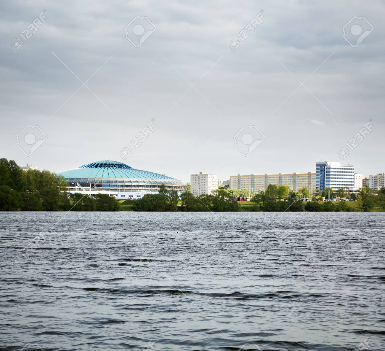 MINSK, BELARUS - MAY 11 - Chizhovka Arena on May 11, 2014 in Minsk, Belarus  The Venue for Ice Hockey 2014 World Championship IIHF  Minsk Cityscape  Stock Photo - 28359948