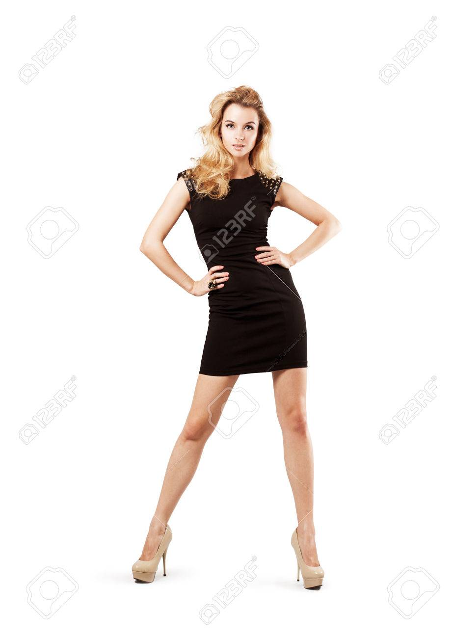 Full Length Portrait of a Sexy Blonde Woman in Little Black Fashion Dress. Isolated on White. Fashion and Beauty Concept. - 38121295