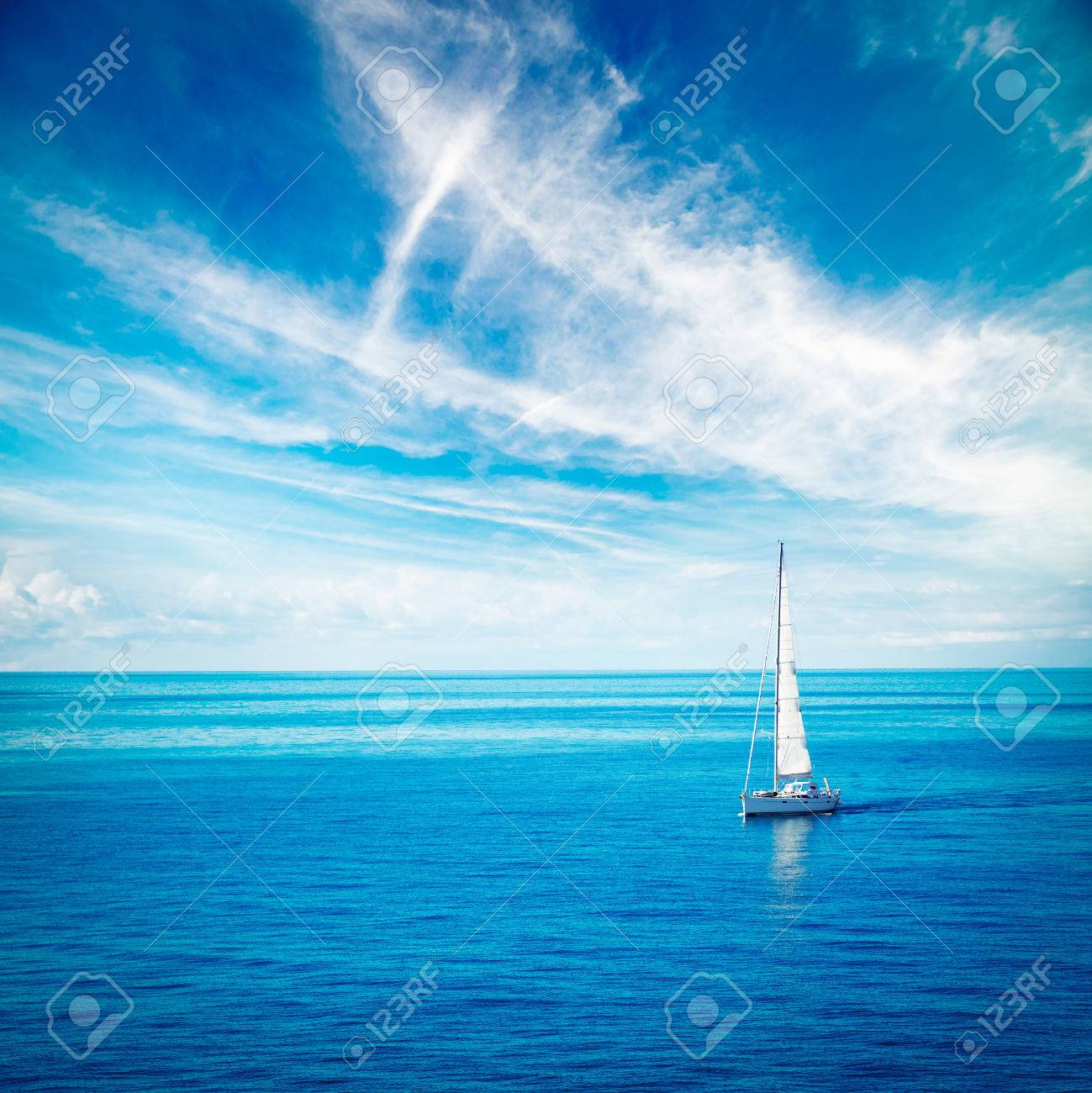 Beautiful Seascape with White Yacht Sailing in Blue Sea. Square Photo with Copy Space. - 49168382
