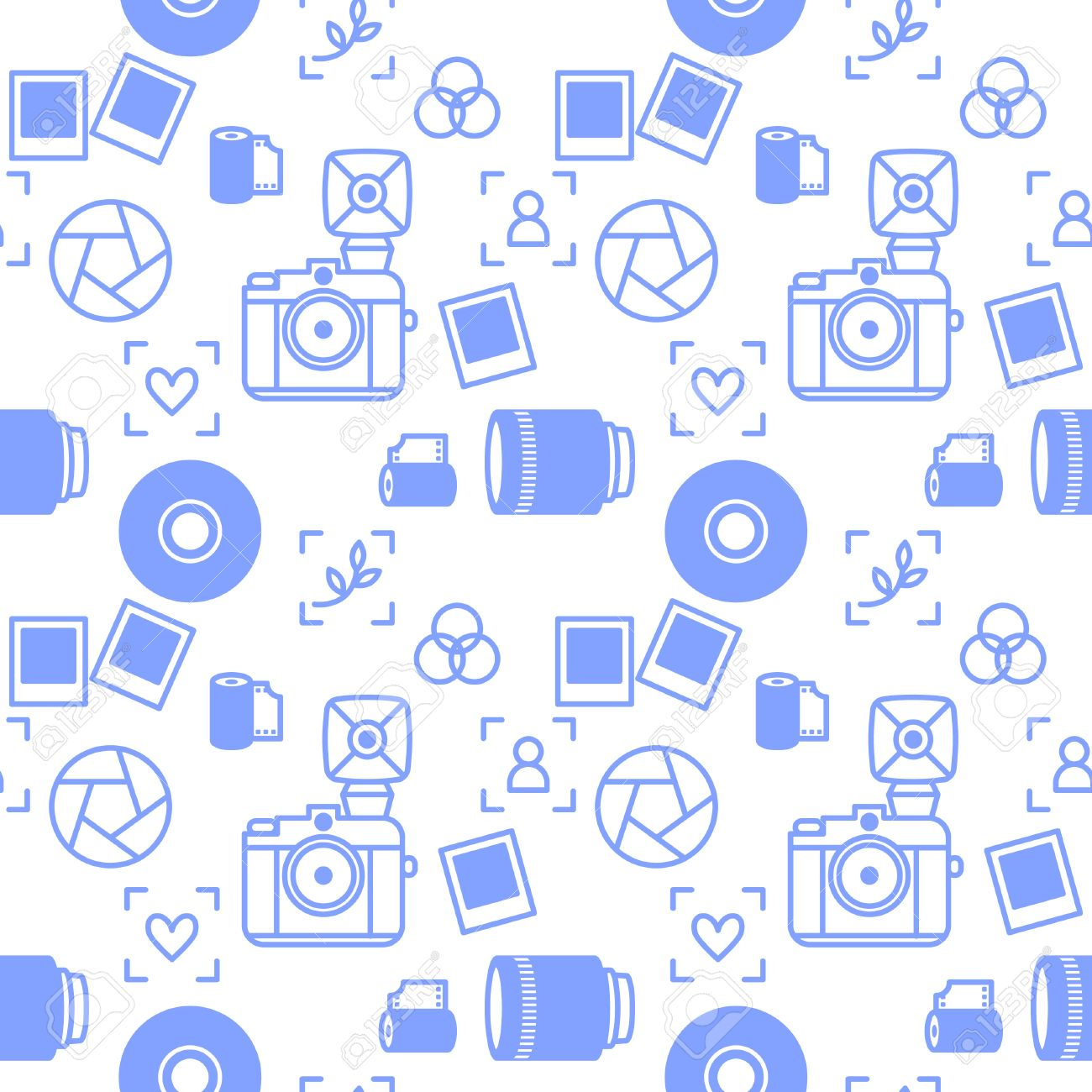Seamless Pattern With Outline Minimalistic Photographer Devices Vector Background Camera Lens And Pictures