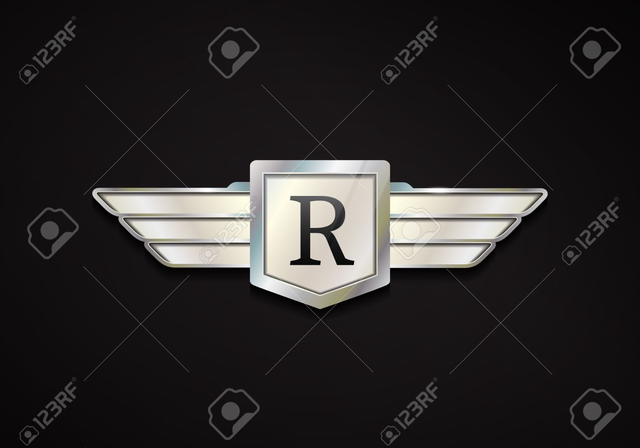 Chrome Emblem With Wings 3d Car Vector Logo Royalty Free Cliparts