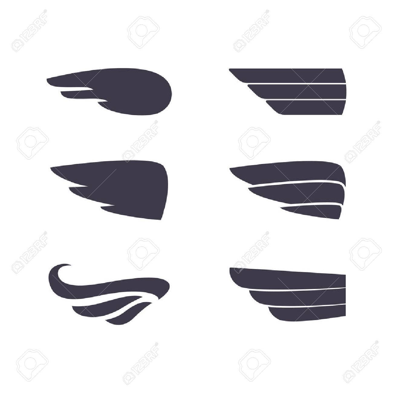 Set Of Vector Silhouettes Wings. Elements For Logo, Labels And ...
