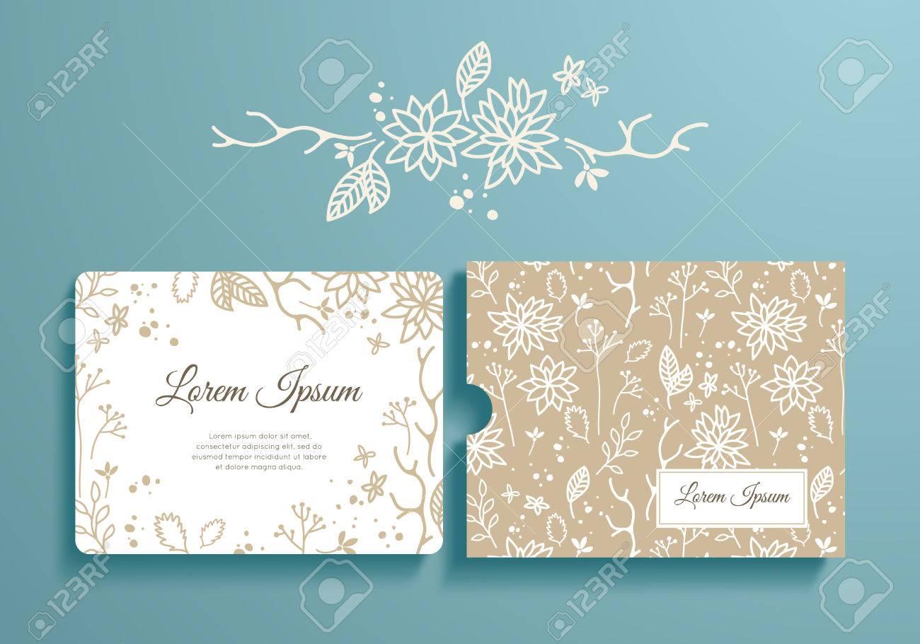 Floral Reihe Von Romantischen Einladung Und Umschlag. Schablone ...