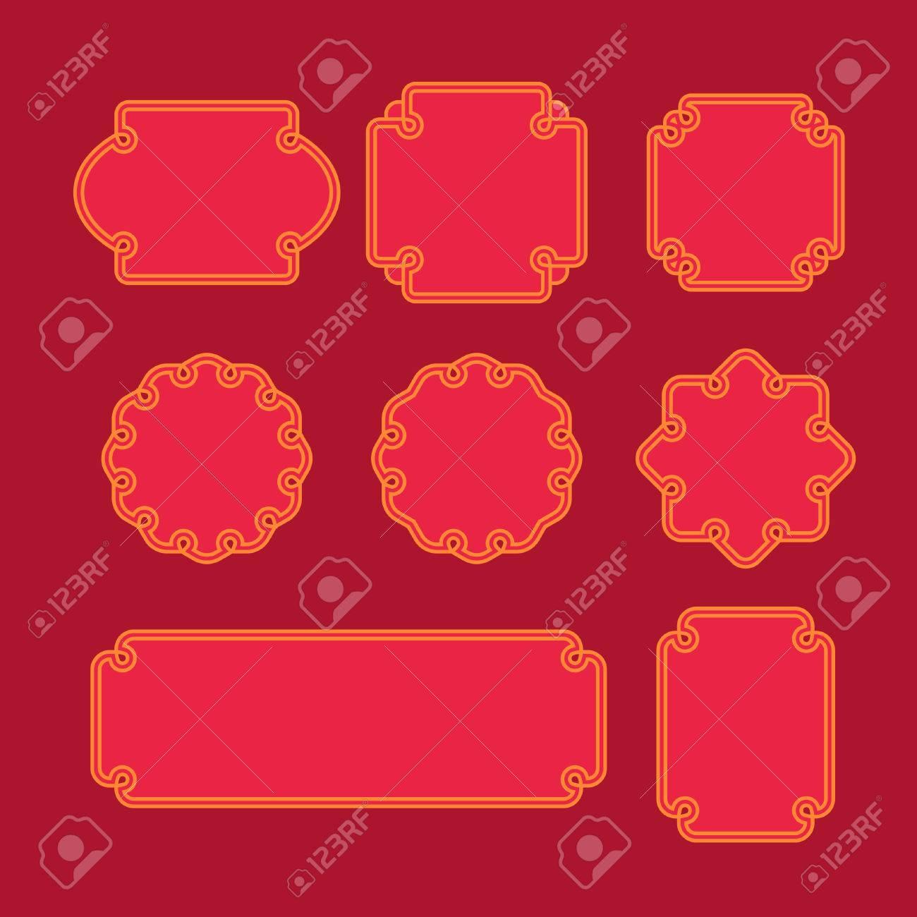 Conjunto De Marcos Orientales, Emblemas E Insignias. Plantilla De ...
