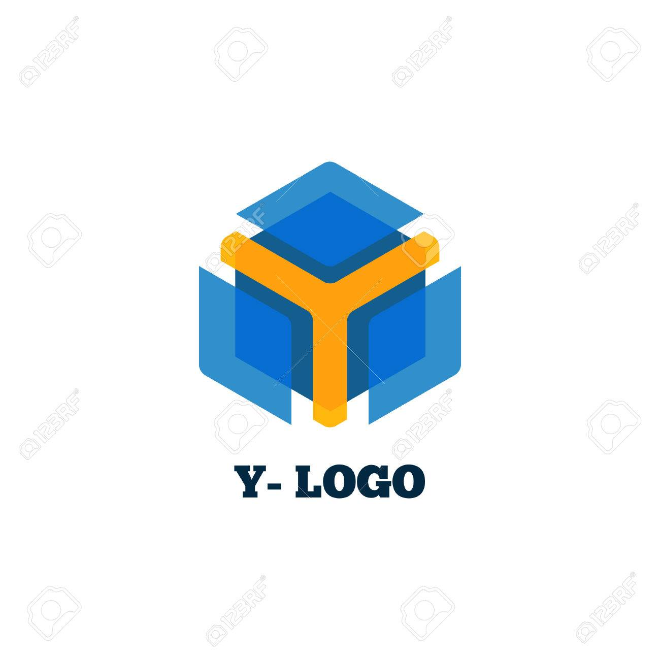 Yellow Y Letter With Blue Box Logo Symbol For Groups Companies