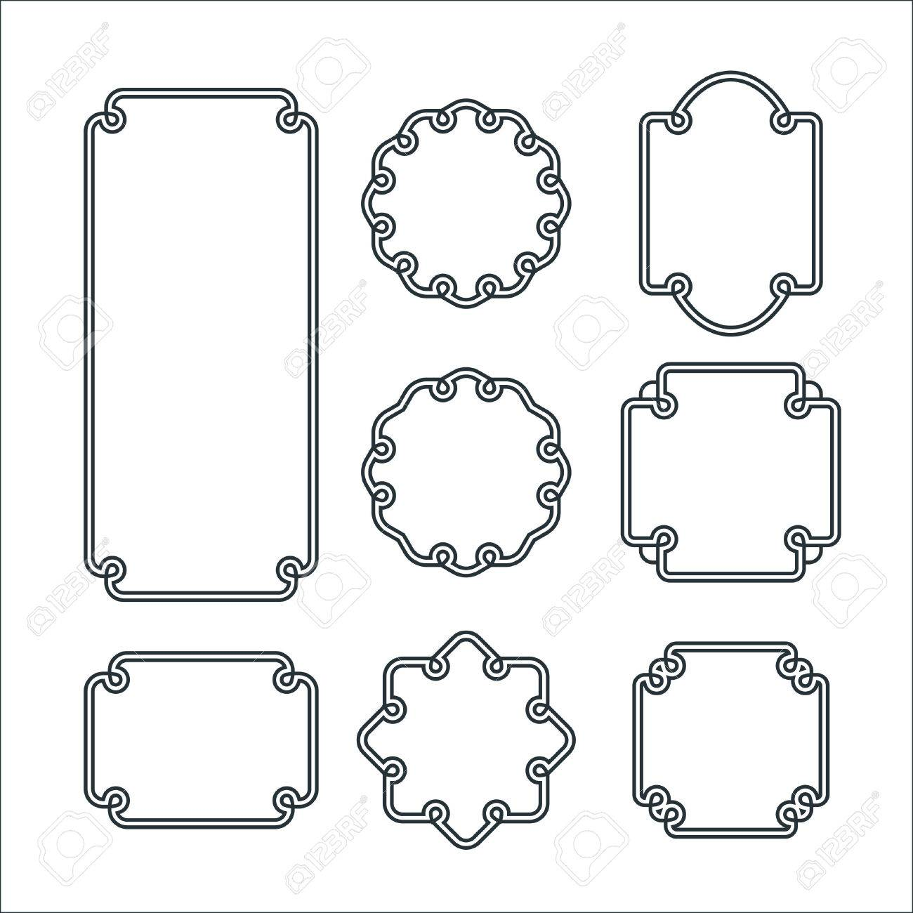 Set Of 8 Isolated Graceful Frames. Vector Decorative Ornament ...