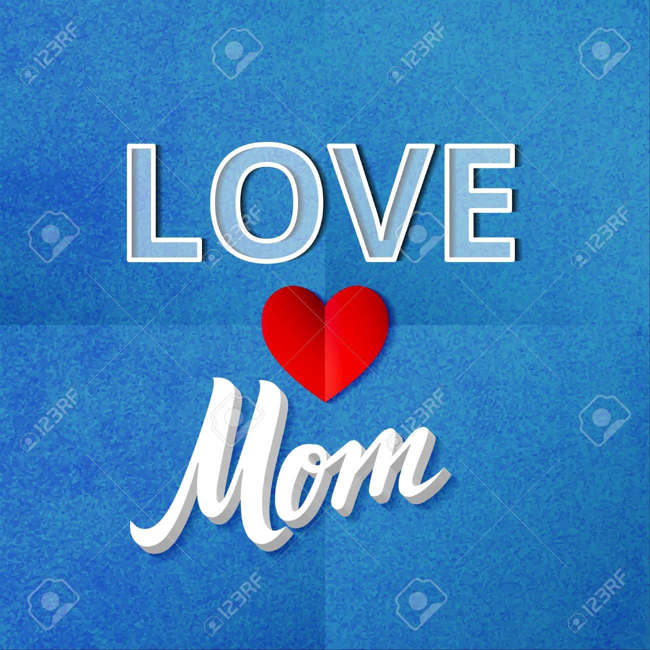 Liebe Mama Plakat. Vektor Texturiert Illustration Mit Herzform. Blau ...